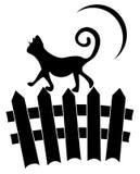 Katt på staket royaltyfri illustrationer