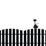 Katt på staketkonturn Arkivfoton