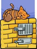 Katt på ugntecknad filmillustration Arkivbilder