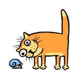 Katt som håller ögonen på snigeln också vektor för coreldrawillustration Fotografering för Bildbyråer