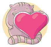 Katt som rymmer en stor hjärta Royaltyfri Bild