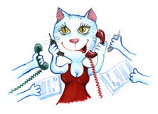 Kattaffärsman i kontorstelefonen Royaltyfria Bilder