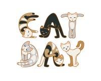 Kattdag Augusti 8 ferie Inskrift av katter stock illustrationer