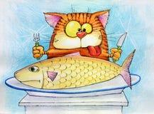 katten äter fisken som går till Arkivfoto