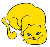 Katten anfaller royaltyfri illustrationer