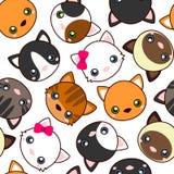 katten Beeldverhaal vector naadloos patroon, behang Stock Afbeeldingen