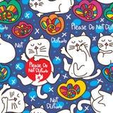 Katten behar störer inte sömlös patetrn royaltyfri illustrationer