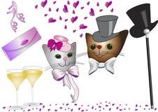Katten bij de Dag van de Valentijnskaart Royalty-vrije Stock Afbeeldingen
