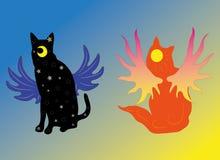 Katten dag en nacht Royalty-vrije Stock Afbeeldingen