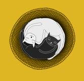 Katten die in mand slapen royalty-vrije illustratie