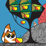 Katten en appelboom royalty-vrije illustratie