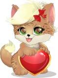 Katten en hart Royalty-vrije Stock Foto's
