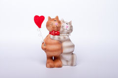 Katten en hart Stock Foto's