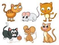 Katten en muizen Stock Afbeeldingen