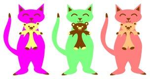 Katten en Teddyberen royalty-vrije illustratie
