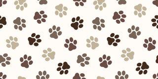Katten för den hundPaw Seamless Pattern vektorn tafsar för tapetbakgrund för fot trycket isolerad brunt för bakgrund vektor illustrationer