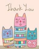 Katten för Japan Kokeshi stilabstrakt begrepp tackar dig att card vektor illustrationer