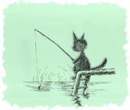 Katten fiskar Royaltyfri Fotografi