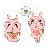 Katten gillar pudding stock illustrationer