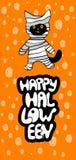 Katten in Halloween-kostuums Leuke beeldverhaalillustratie stock foto