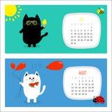 Katten horizontale kalender 2017 Leuk grappig beeldverhaal wit zwart karakter - reeks royalty-vrije illustratie