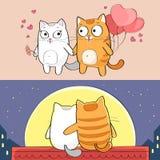 Katten in liefde Stock Illustratie