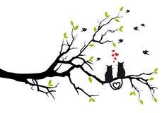 Katten in liefde op boom, vector Royalty-vrije Stock Afbeeldingen