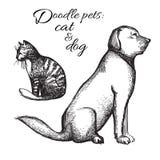 Katten och hunden skissar vektor Stock Illustrationer