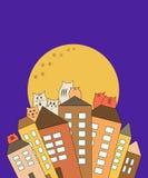 Katten op daken met maanachtergrond, vector royalty-vrije illustratie