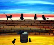 Katten op een Art. van de Muur Royalty-vrije Stock Afbeelding