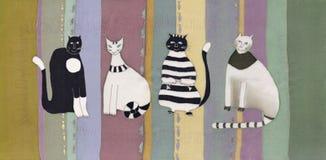 Katten op gestreepte achtergrond Stock Afbeeldingen