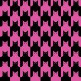 Katten Pattern_Black-Magenta Stock Afbeelding