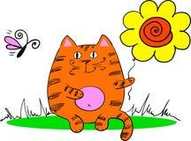 Katten sitter på gräset Arkivfoton