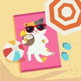 Katten solbadar på stranden vektor illustrationer