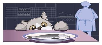 Katten stjäler en fisk Royaltyfria Foton