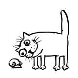 Katten studerar snigeln också vektor för coreldrawillustration Royaltyfria Foton