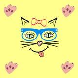Kattengezicht dat glimlacht huisdier in hipsterglazen royalty-vrije illustratie