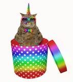 Kattenhörning i en gåvaask 2 stock illustrationer