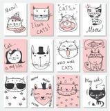 Kattenkaarten royalty-vrije illustratie
