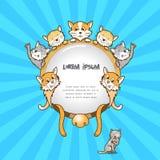 Kattenkader op kleurenachtergrond, leuke kat stock illustratie