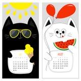 Kattenkalender 2017 Leuk grappig beeldverhaal wit zwart karakter - reeks De zomermaand van juli Augustus hello Royalty-vrije Stock Afbeelding