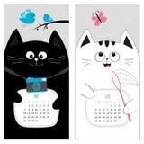 Kattenkalender 2017 Leuk grappig beeldverhaalkarakter - reeks De lentezomermaand van mei Juni Stock Foto's