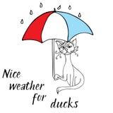 Kattenkrabbel met paraplu schets royalty-vrije stock fotografie