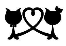 Kattenmeisje en jongen, liefde en Romaans royalty-vrije illustratie