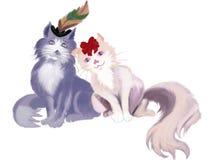 Kattenpaar Stock Afbeeldingen