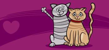 Kattenpaar in de kaart van de liefdevalentijnskaart Stock Afbeelding