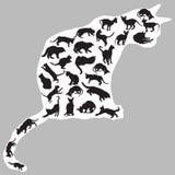 Kattensilhouetten binnen één kat stock illustratie