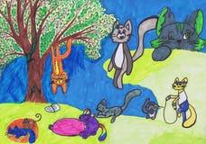 Kattenspel in de straat Kinderen` s tekening Stock Foto's