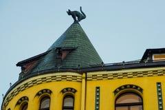 Kattenstandbeeld op het dak Detail van Cat House in het centrum van Riga, Letland stock foto's
