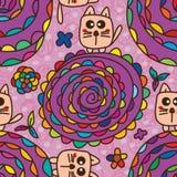 Kattenstuk speelgoed bloem naadloos patroon Royalty-vrije Stock Foto